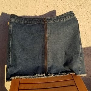 Zip-Front Denim Midi Skirt